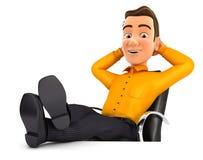 Mann 3d, der mit Füßen oben auf seinem Schreibtisch sich entspannt vektor abbildung