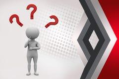 Mann 3d, der mit Fragezeichenillustration denkt Lizenzfreie Stockfotos