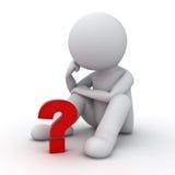 Mann 3d, der mit rotem Fragezeichen über Weiß sitzt und denkt Lizenzfreie Stockfotos