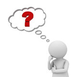 Mann 3d, der mit rotem Fragezeichen in der Gedankenblase denkt Lizenzfreie Stockbilder
