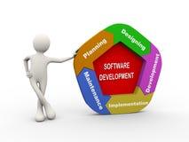 Mann 3d, der mit Softwareentwicklungsdiagramm steht Stockfoto