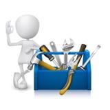 Mann 3d, der okayhandzeichen mit einem Werkzeugkasten mit Werkzeugen zeigt Lizenzfreie Stockfotos