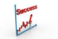 Mann 3d, der versucht, Diagramm im Erfolg zu machen Stockfoto