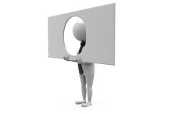 Mann 3d durch wondow Konzept Lizenzfreie Stockbilder