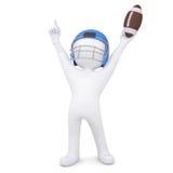 Mann 3d in einem Football-Helm hob seine Hände oben an Lizenzfreies Stockbild