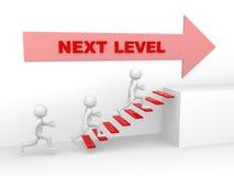 Mann 3d klettert die Leiter des folgenden Niveaus - 3d übertragen Lizenzfreie Stockfotos