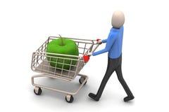 Mann 3d mit Apfel in der Einkaufslaufkatze Stockfotos