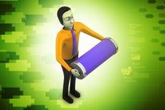 Mann 3d mit Batterie Stockbilder