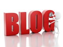 Mann 3d mit Blogzeichen Nachrichtenkonzept auf weißem Hintergrund Stockfotografie