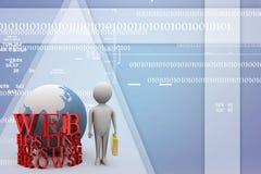 Mann 3d mit der Web-Hosting-Förderung grasen Konzept Illustration Lizenzfreie Stockbilder