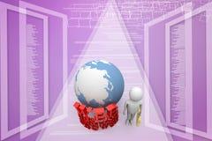 Mann 3d mit der Web-Hosting-Förderung grasen Konzept Illustration Stockbilder