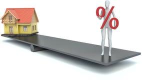 Mann 3d mit einem Prozentzeichen und dem Haus Stockbilder