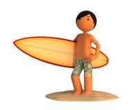 Mann 3d mit einem Surfbrett Stockbild