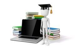 Mann 3d mit Laptop und Büchern Stockbilder