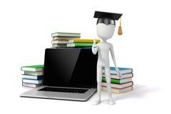Mann 3d mit Laptop und Büchern Lizenzfreies Stockfoto