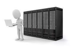 Mann 3d mit Laptop- und Servercomputern Lizenzfreie Stockfotos