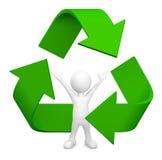 Mann 3D mit Recycling-Symbol Lizenzfreie Stockbilder