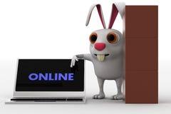 Mann 3d mit vielen Kästen für Lieferung und Laptop mit on-line-Textkonzept Stockbild