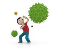 Mann 3d schützt sich gegen Viren Stockbilder