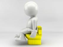 Mann 3D sitzt Stockbild