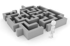 Mann 3d und ein Labyrinth Lizenzfreie Abbildung