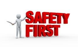 Mann 3d und erstes Konzept der Sicherheit Lizenzfreie Stockbilder