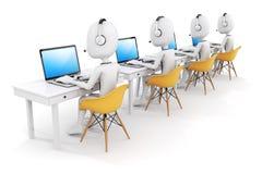 Mann 3d und Laptop, Call-Center-Konzept Lizenzfreies Stockfoto