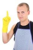 Mann in den gelben Handschuhen, die eine Idee haben Lizenzfreie Stockfotos