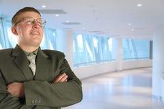 Mann in den Gläsern im Geschäftszentrum, Collage Stockfotografie