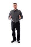 Mann in den Hemd- und Bindungsproduktplatzierungshänden Stockfotografie