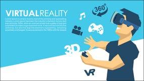 Mann in den Ikonen einer VR-Gläser 3d virtuellen Realität Lizenzfreies Stockbild