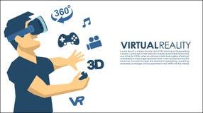 Mann in den Ikonen einer VR-Gläser 3d virtuellen Realität Lizenzfreie Stockfotos
