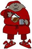 Mann in den Pyjamas und in auslaufendem Kaffee der Robe Stockbilder