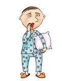 Mann in den Pyjamas und in einem Kissen stock abbildung