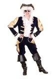 Mann in den Sonnenbrillen und im alten Kostüm mit Perücke. Stockbild