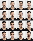 Mann in den verschiedenen Stimmungen Stockfotos