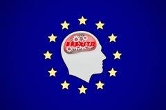Mann denkt an brexit Konsequenzen, europäischer Flaggenhintergrund stockbild