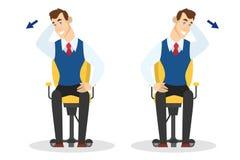 Mann, der Übung für hintere Ausdehnung im Büro tut vektor abbildung