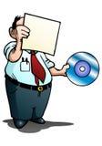 Mann, der Album auf lokalisiertem Weiß überprüft Lizenzfreie Stockfotos