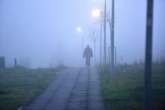 Mann, der allein in nebeliges Wetter geht Stockfotografie