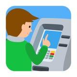 Mann, der ATM-Maschine verwendet Vector Illustration des lokalisierten weißen Hintergrundes des Leutequadrats icone Lizenzfreie Stockfotografie
