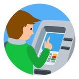 Mann, der ATM-Maschine verwendet Vector Illustration des runden icone lokalisierten weißen Hintergrundes der Leute Lizenzfreies Stockfoto