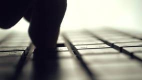 Mann, der auf Computertastatur schreibt Backlit mit flacher Schärfentiefe nahaufnahme stock footage