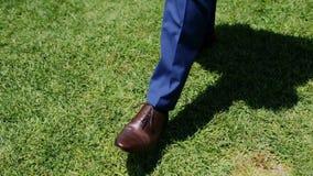 Mann, der auf das Gras geht stock footage