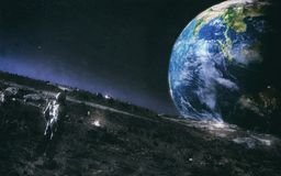 Mann, der auf dem Mond steht, Planeten-Erde beobachtend vektor abbildung