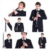 Mann, der auf Klarinette spielt. Stockbild