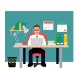 Mann, der auf rotem Stuhl im Büro sitzt Geschäftsmann Vector Illustration Lizenzfreie Stockbilder