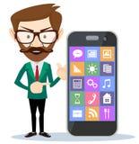 Mann, der auf seinem Smartphone darstellt Lizenzfreie Stockbilder
