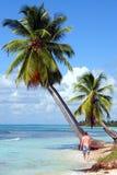 Mann, der auf tropischen Strand geht Stockfotos