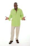 Mann, der auseinander mit den Händen gestikuliert lizenzfreies stockbild